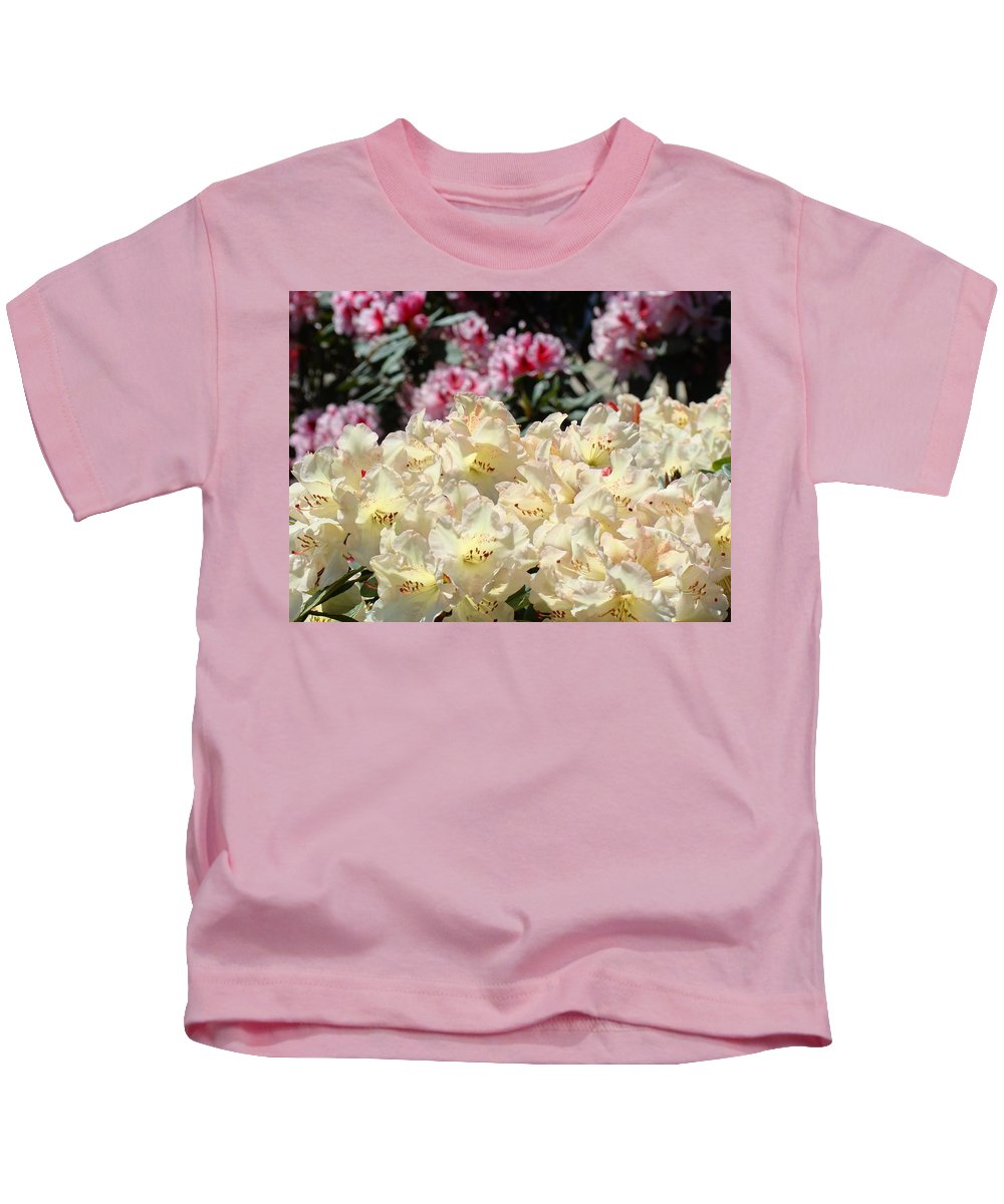 Rhodies Kids T-Shirt featuring the photograph Sunlit Yellow Rhodies Art Print Creamy Rhododendrons Flowers Baslee Troutman by Baslee Troutman