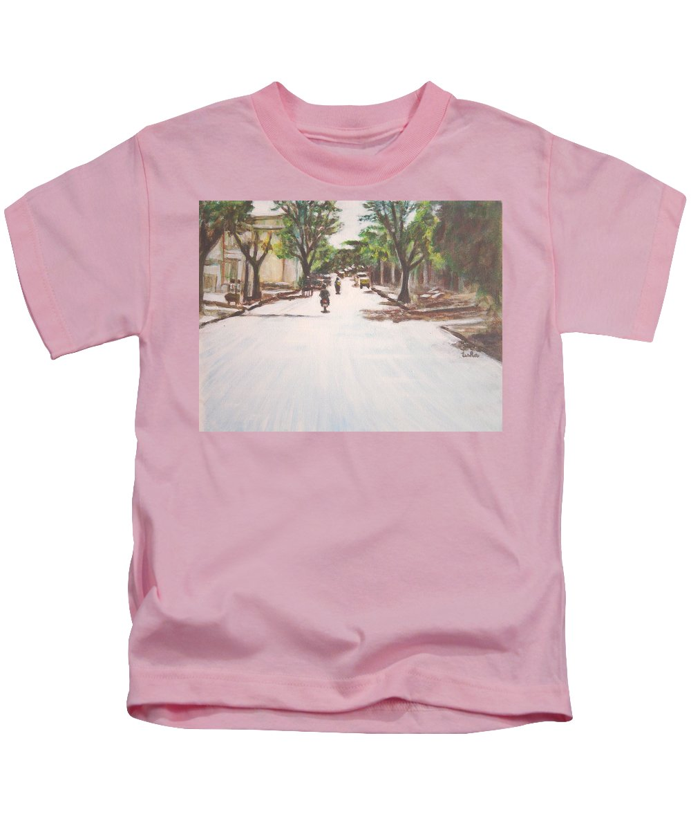 Sun Kids T-Shirt featuring the painting Sunny Road by Usha Shantharam