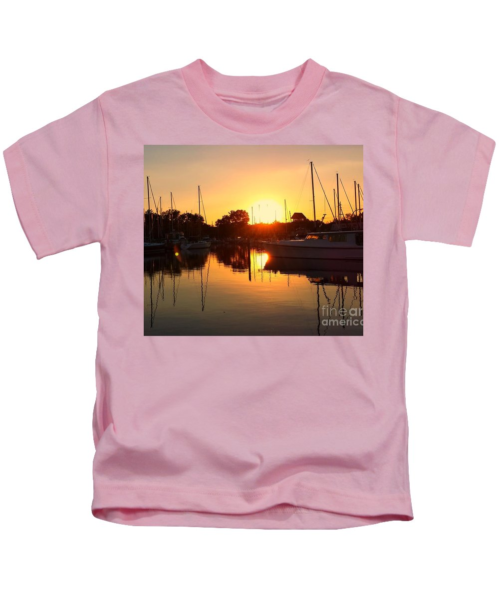 Reflection Kids T-Shirt featuring the photograph Sunset At Sailors Cove by Jim Ralph