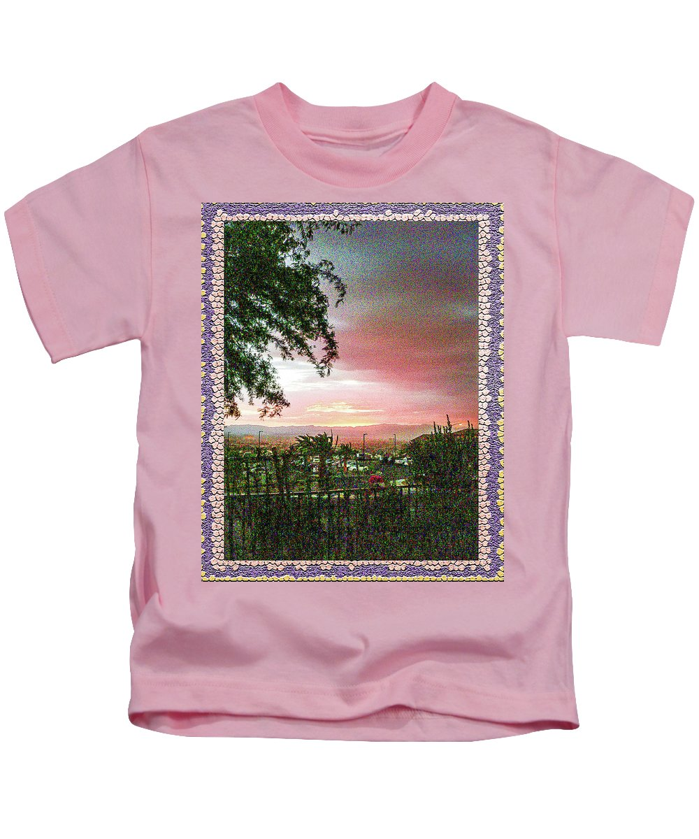Surreal Desert Sunset Kids T-Shirt featuring the photograph Surreal Desert Sunset by Shirley Anderson