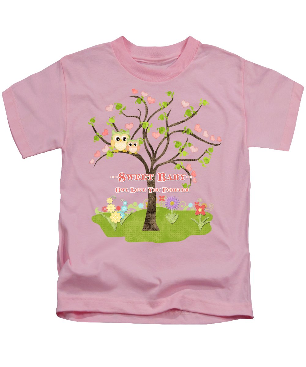 Owl Kids T-Shirt featuring the painting Sweet Baby - Owl Love You Forever Nursery by Audrey Jeanne Roberts