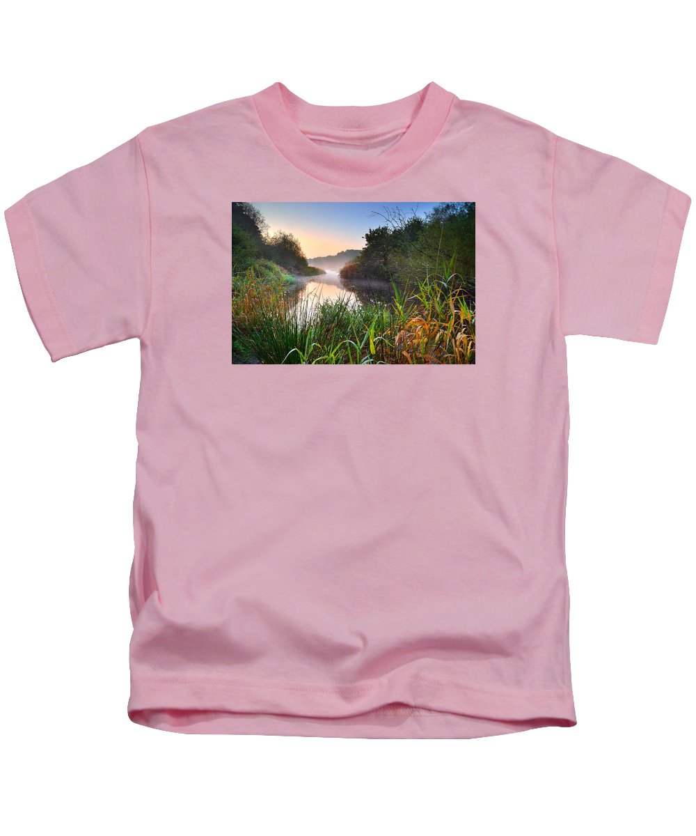 Swiss Valley Kids T-Shirt featuring the photograph Swiss Valley Reservoir by Phil Fitzsimmons