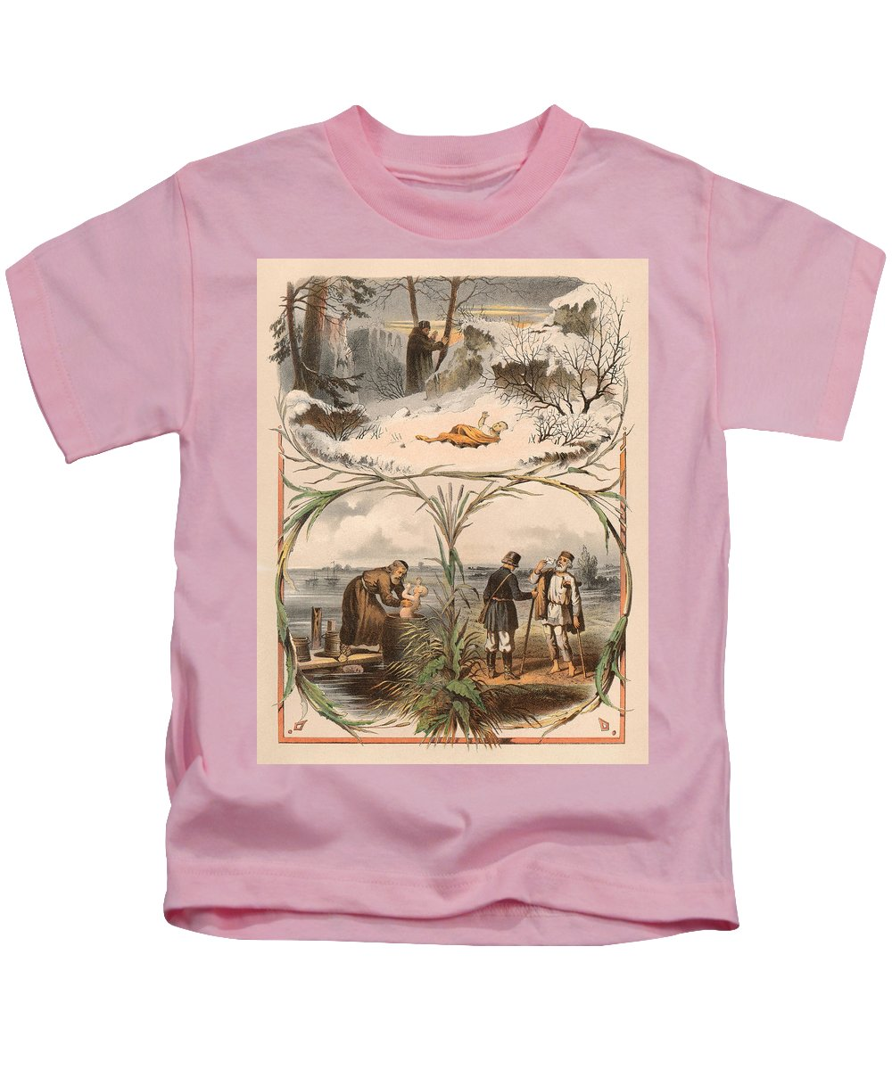 Antique Illustrations Kids T-Shirt featuring the digital art Tale Of The Marche Rich And Basil Homeless 1 by Sergey Lukashin