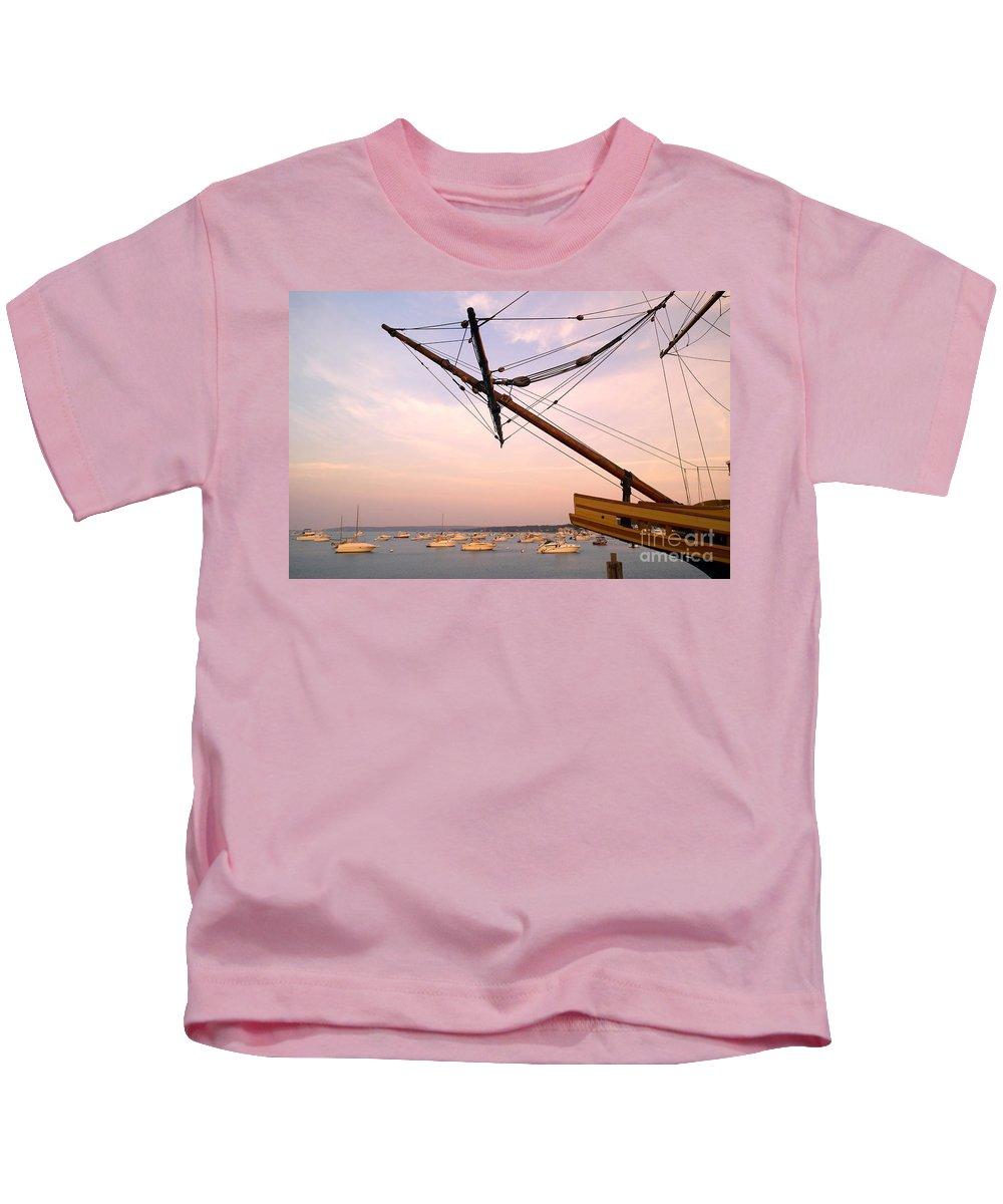 Mayflower Ii Kids T-Shirt featuring the photograph Tall Ship Mayflower II In Plymouth Massachusetts by Matt Suess