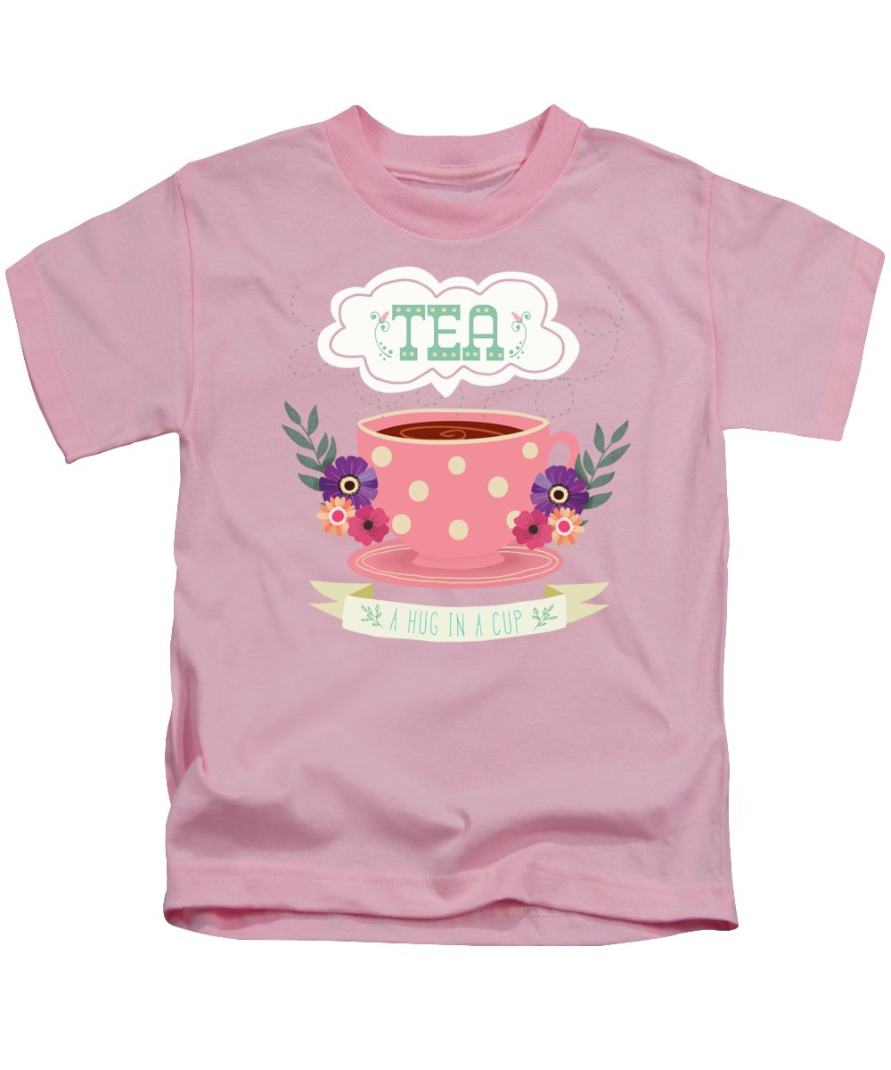 Tea Kids T-Shirt featuring the painting Tea Like A Hug In A Cup by Little Bunny Sunshine
