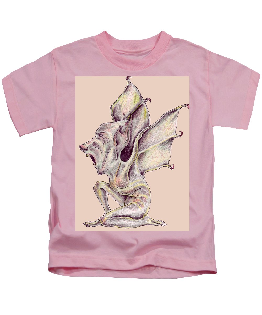 Bat Rat Man Drawings Color Pencil Kids T-Shirt featuring the drawing That Bat Man Rat by Veronica Jackson