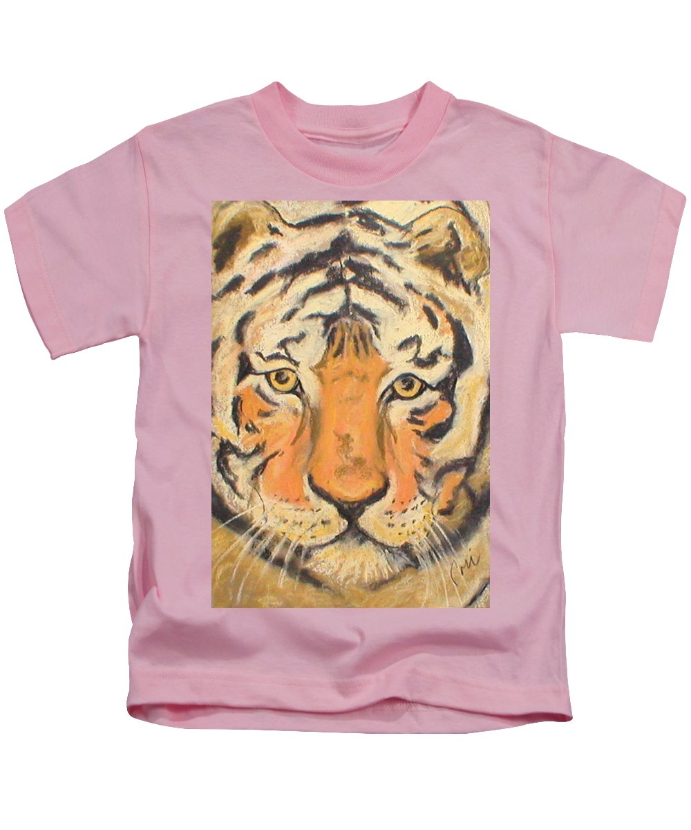 Pastel Kids T-Shirt featuring the drawing The Amber Stare by Cori Solomon