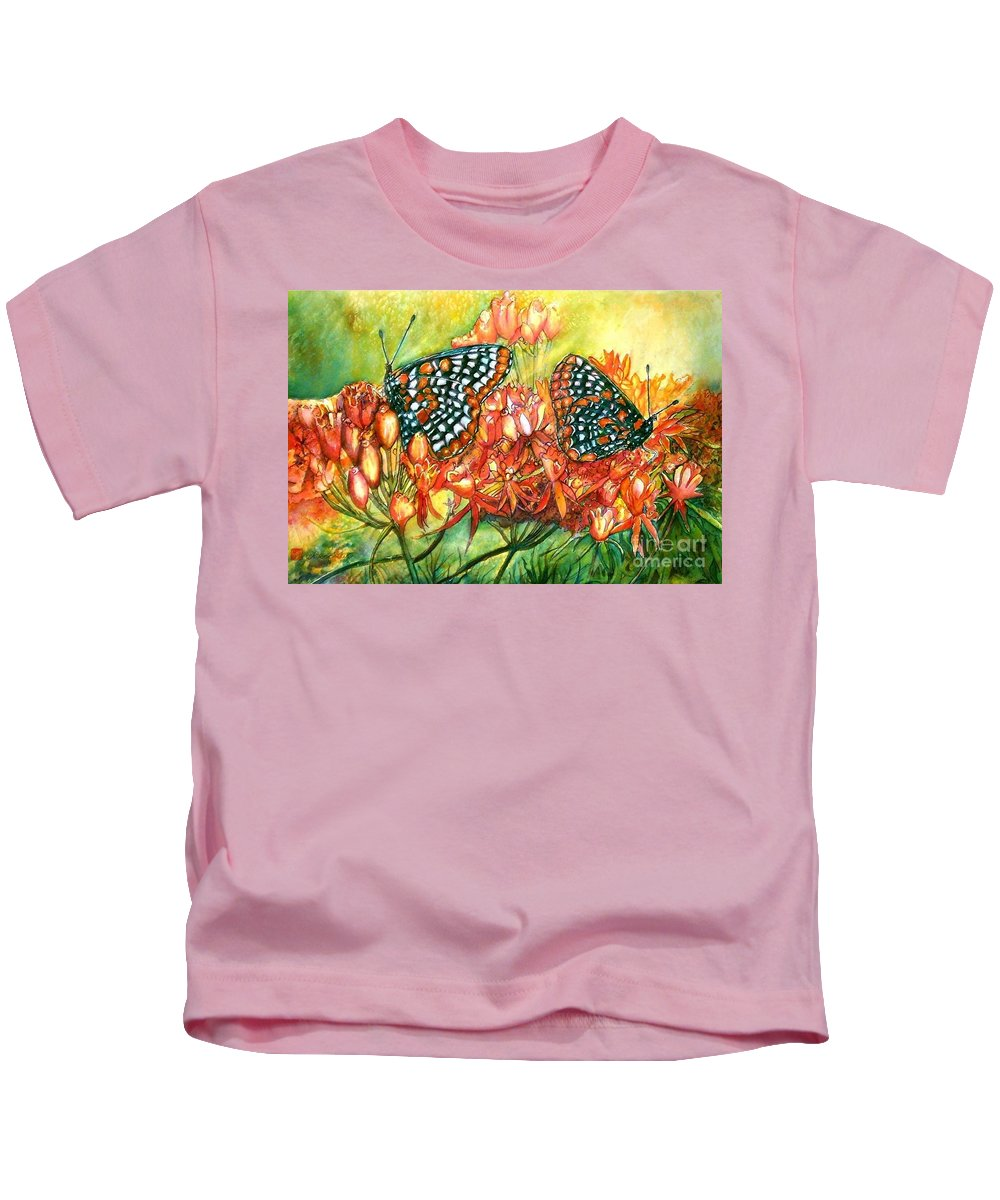Butterflies Artwork Kids T-Shirt featuring the painting The Beauty Of Spring by Norma Boeckler