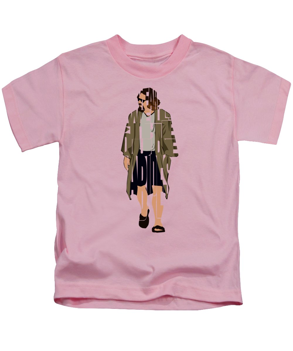 The Big Lebowski Kids T-Shirt featuring the digital art The Big Lebowski Inspired The Dude Typography Artwork by Inspirowl Design