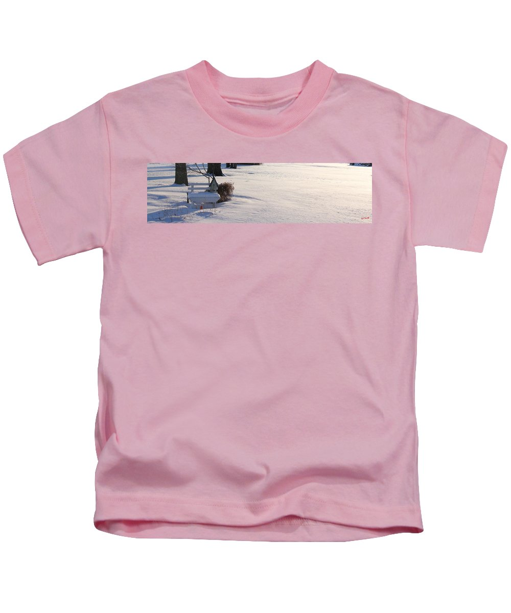 The Bird House Bench Kids T-Shirt featuring the photograph The Bird House Bench by Edward Smith
