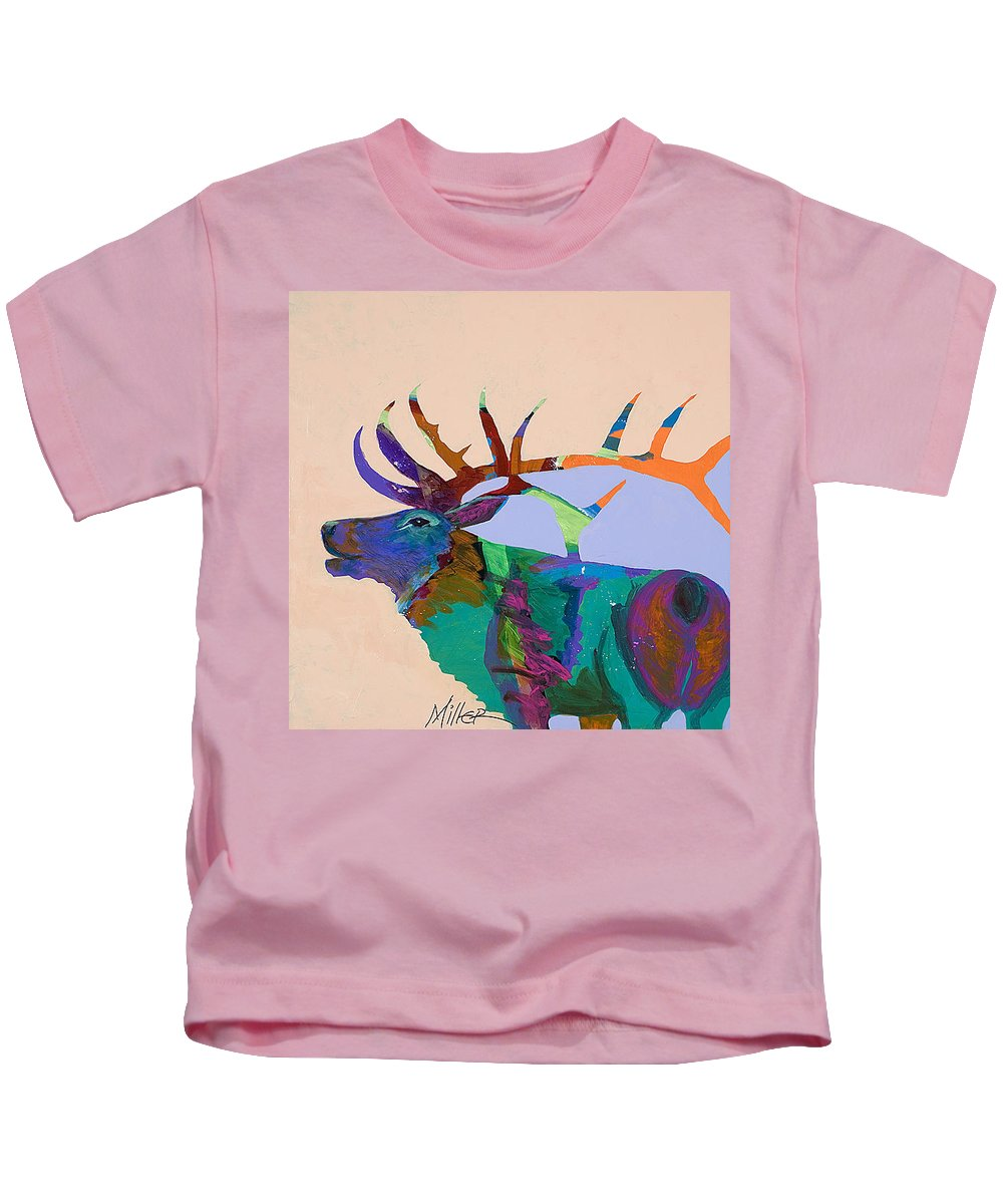 Elk Kids T-Shirt featuring the painting The Call by Tracy Miller