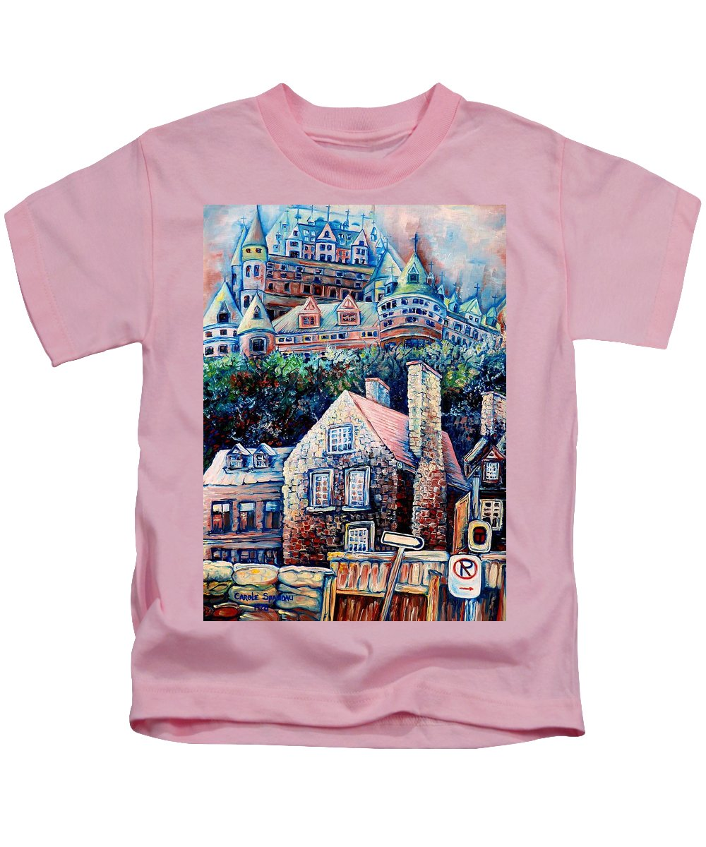 Chateau Frontenac Kids T-Shirt featuring the painting The Chateau Frontenac by Carole Spandau
