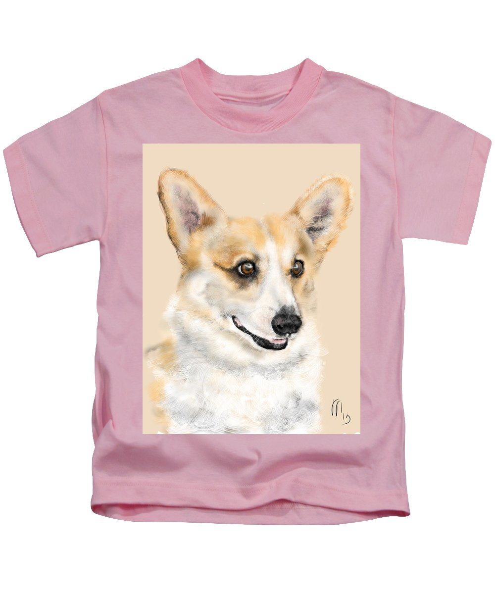Corgi Kids T-Shirt featuring the painting The Corgi by Lois Ivancin Tavaf
