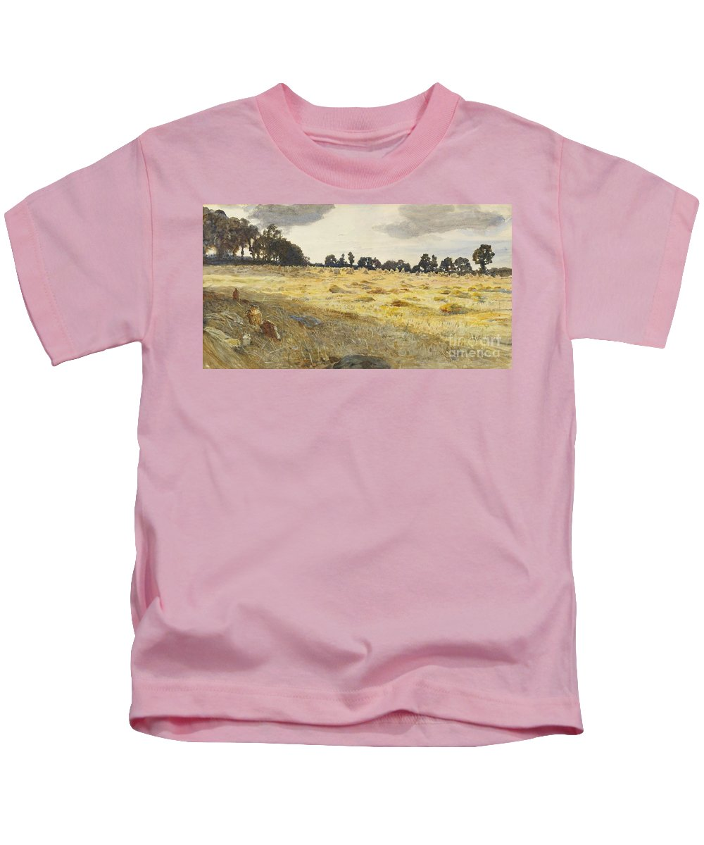 Hubert Von Herkomer - The Cornfield 1887 Kids T-Shirt featuring the painting The Cornfield by MotionAge Designs
