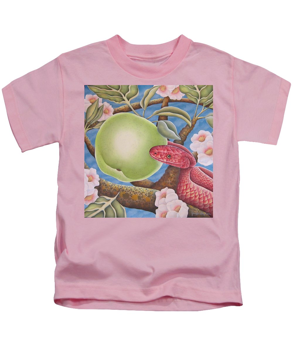 Religious Kids T-Shirt featuring the painting The Devil And Granny Smith by Jeniffer Stapher-Thomas