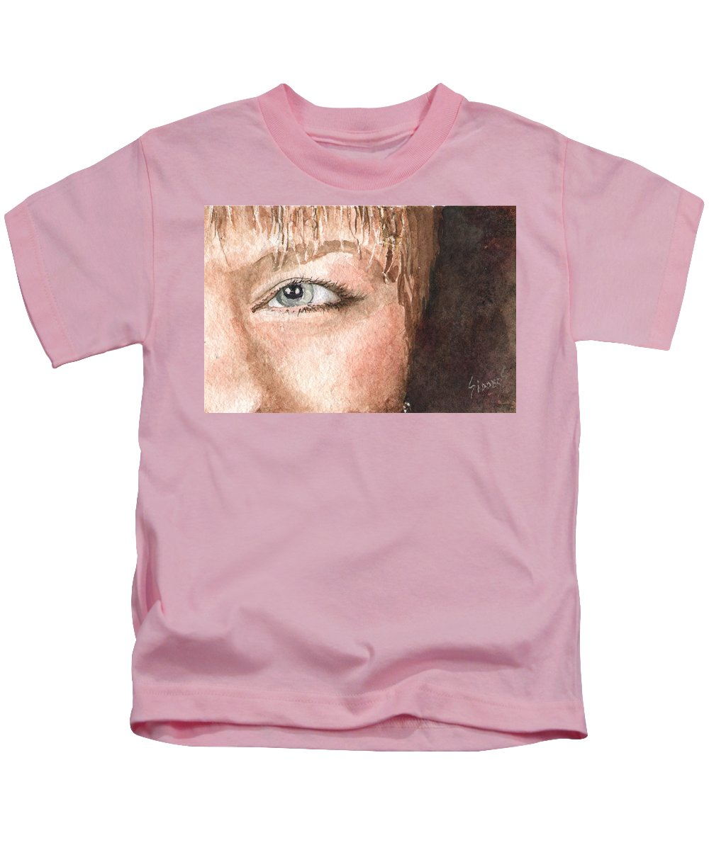 Eyes Kids T-Shirt featuring the painting The Eyes Have It - Shelly by Sam Sidders