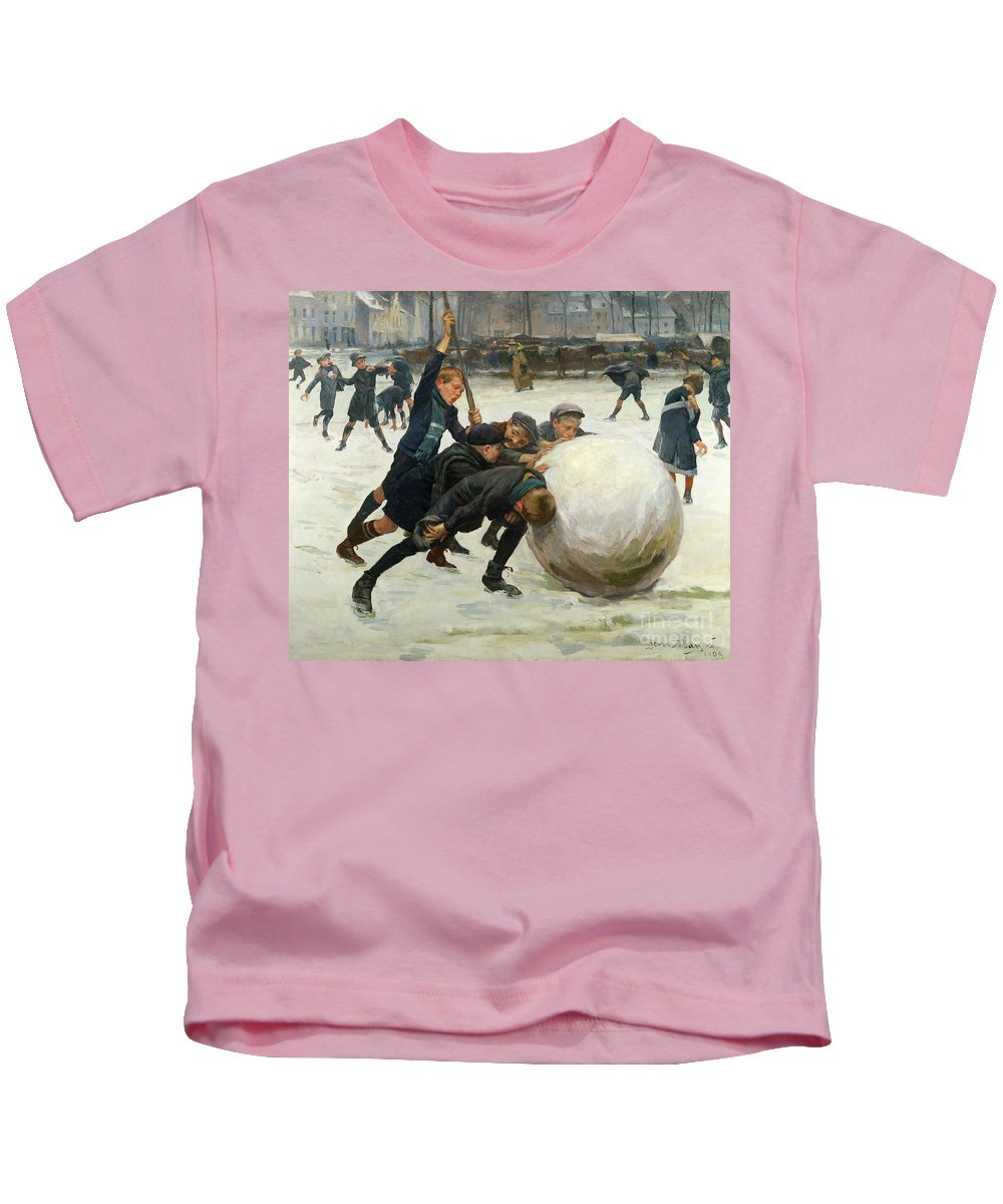 The Kids T-Shirt featuring the painting The Giant Snowball by Jean Mayne