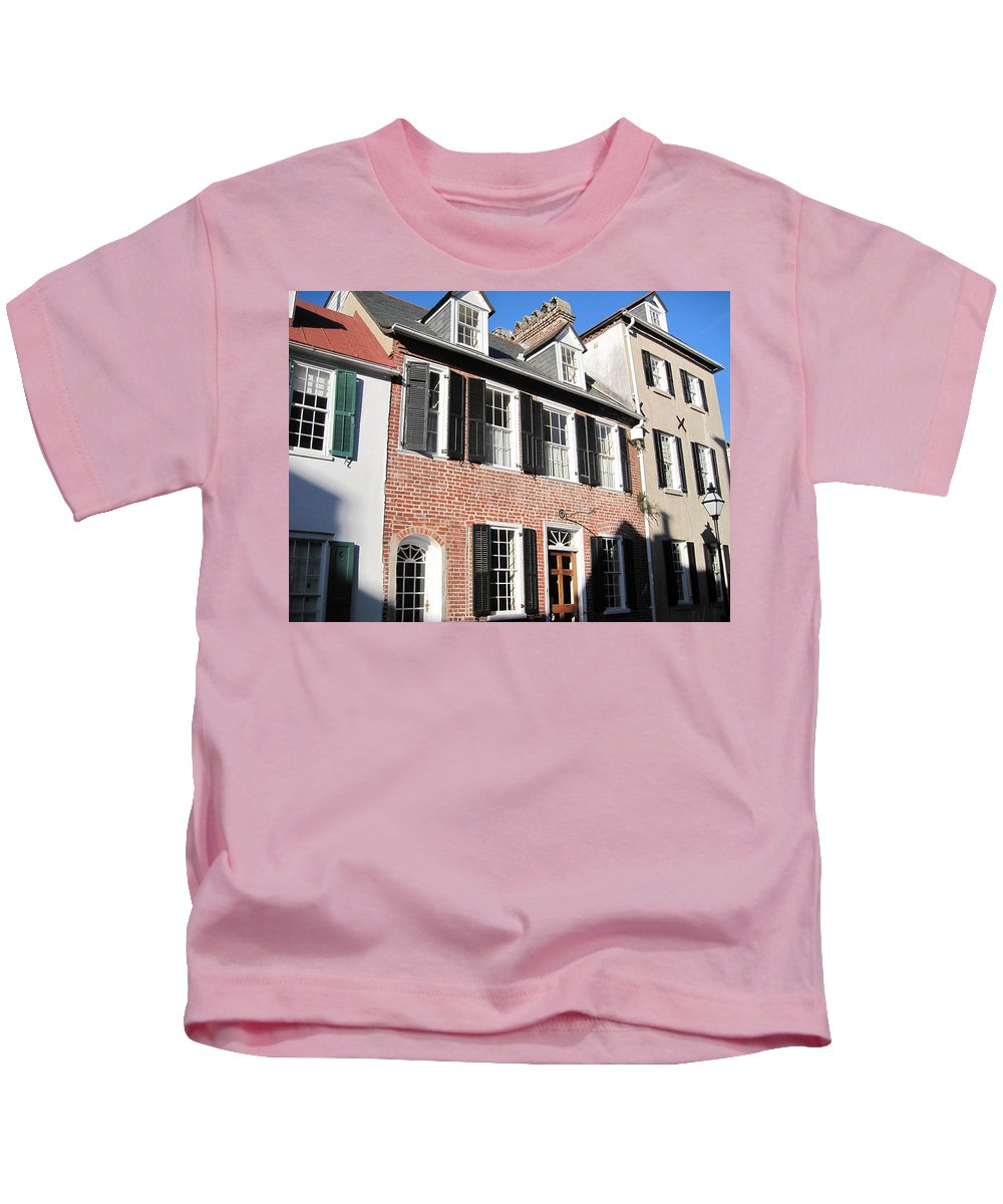 Photography Kids T-Shirt featuring the photograph The Houses Of Charleston by Susanne Van Hulst