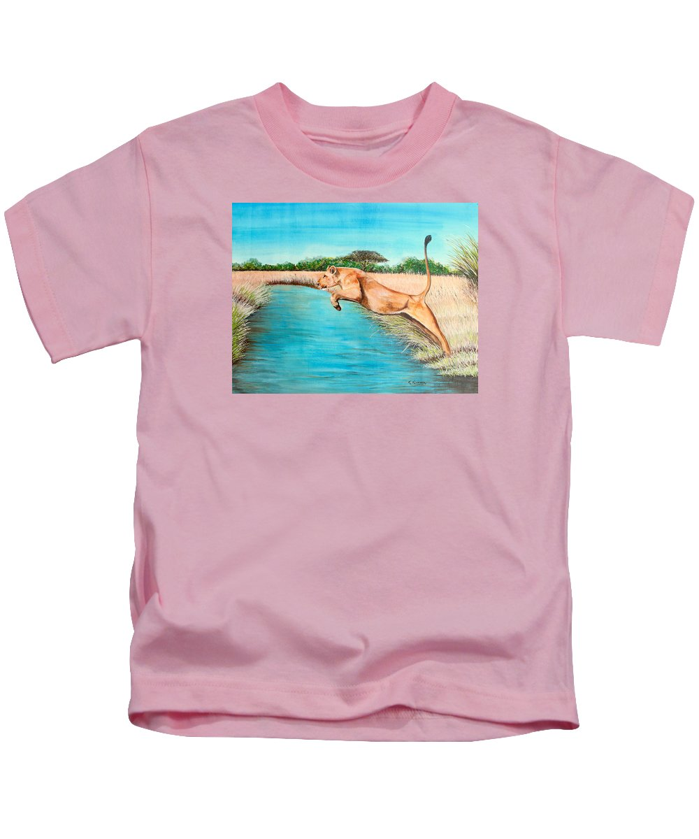 True African Art Kids T-Shirt featuring the painting The Leap by Richard Kimenia