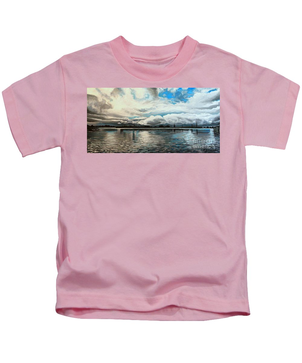 Landscape Kids T-Shirt featuring the painting The Panoramic Painting by Elizabeth Robinette Tyndall