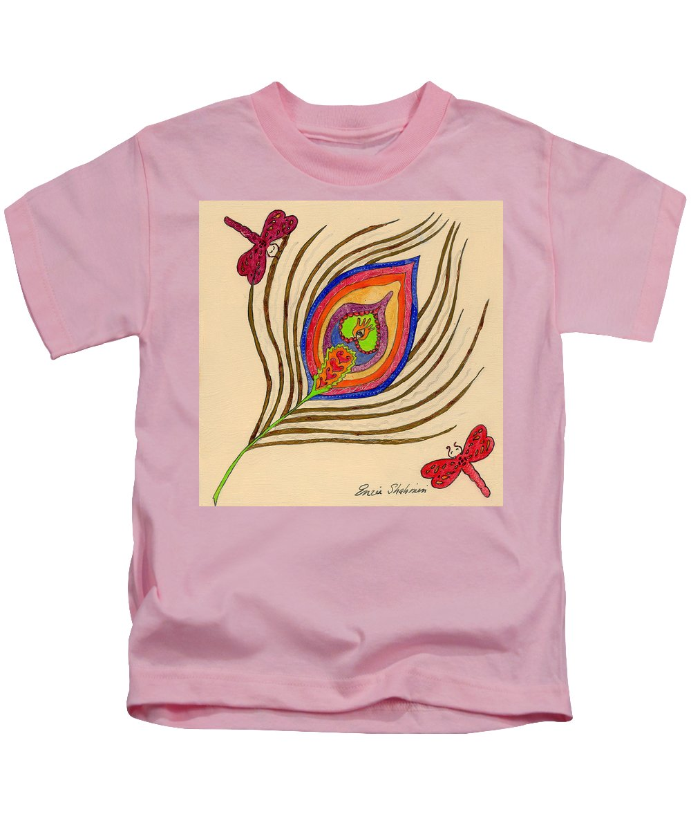 Peacock Kids T-Shirt featuring the painting The Peacock by Portraits By NC