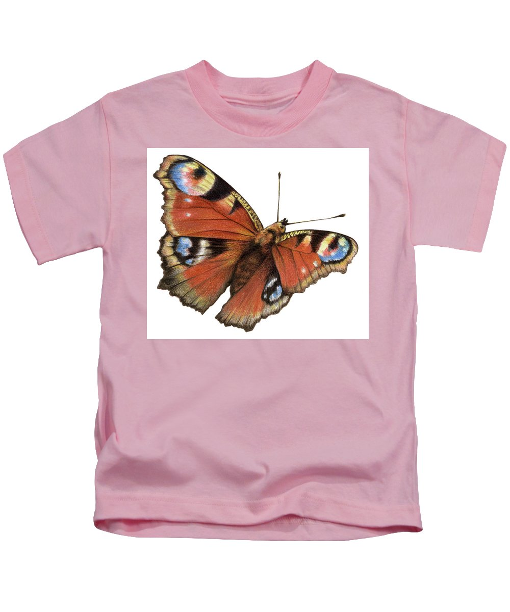Butterfly Kids T-Shirt featuring the painting The Rainbow Of The Peacock by Johannes Margreiter