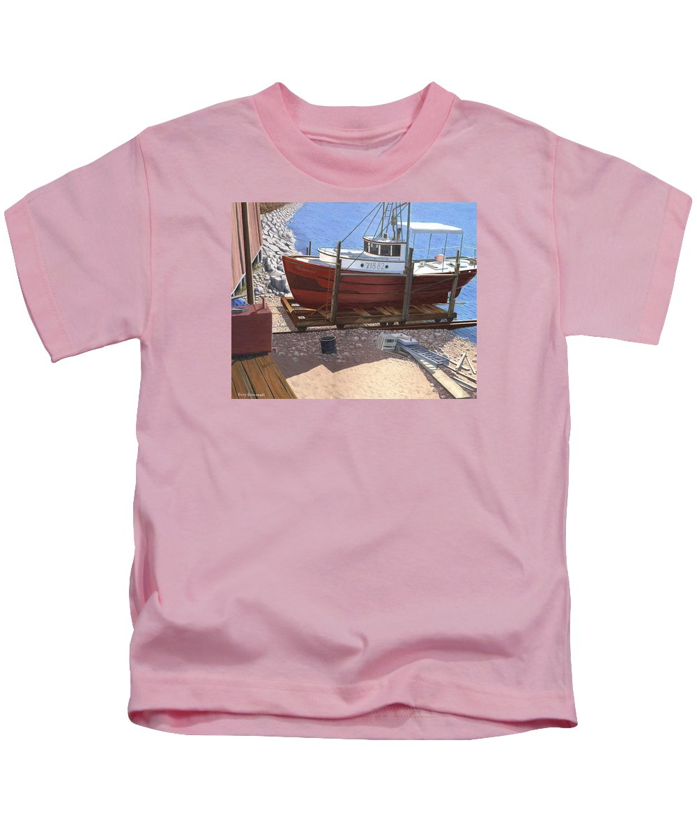 Fishing Boat Kids T-Shirt featuring the painting The Red Troller by Gary Giacomelli