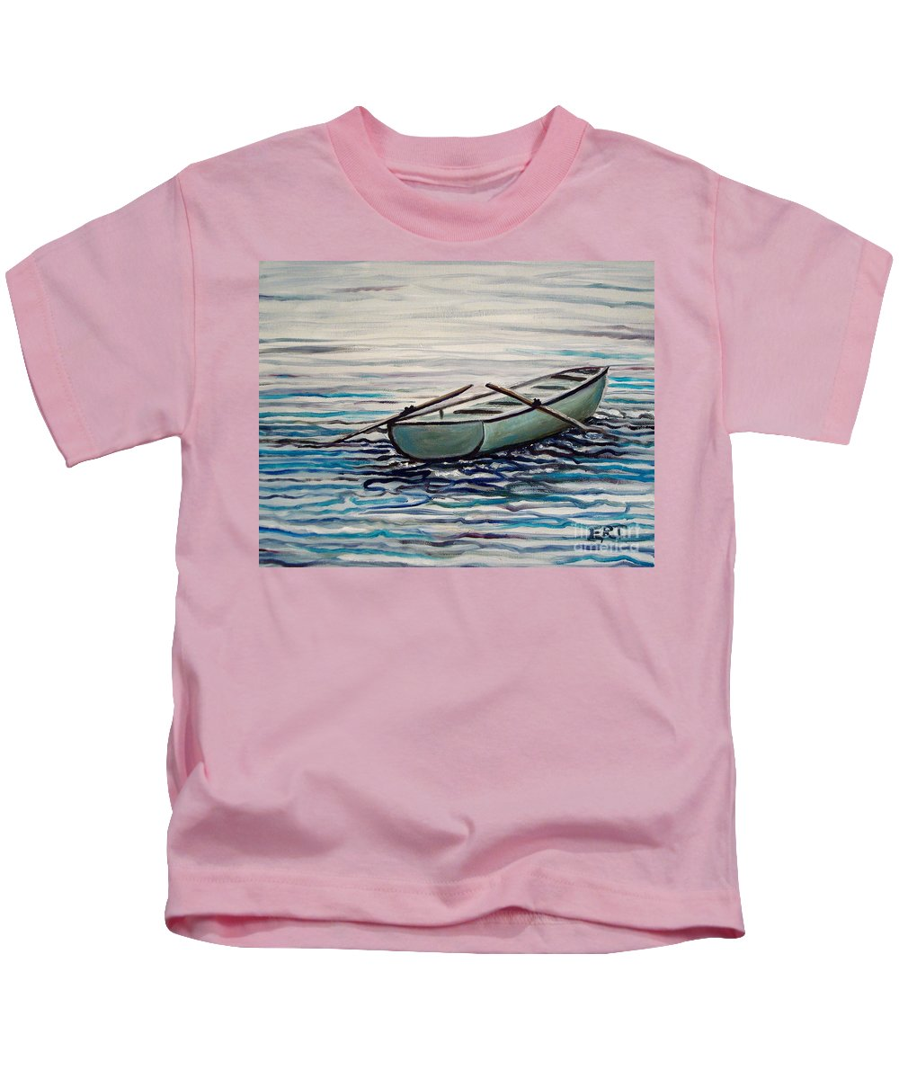 Water Kids T-Shirt featuring the painting The Row Boat by Elizabeth Robinette Tyndall