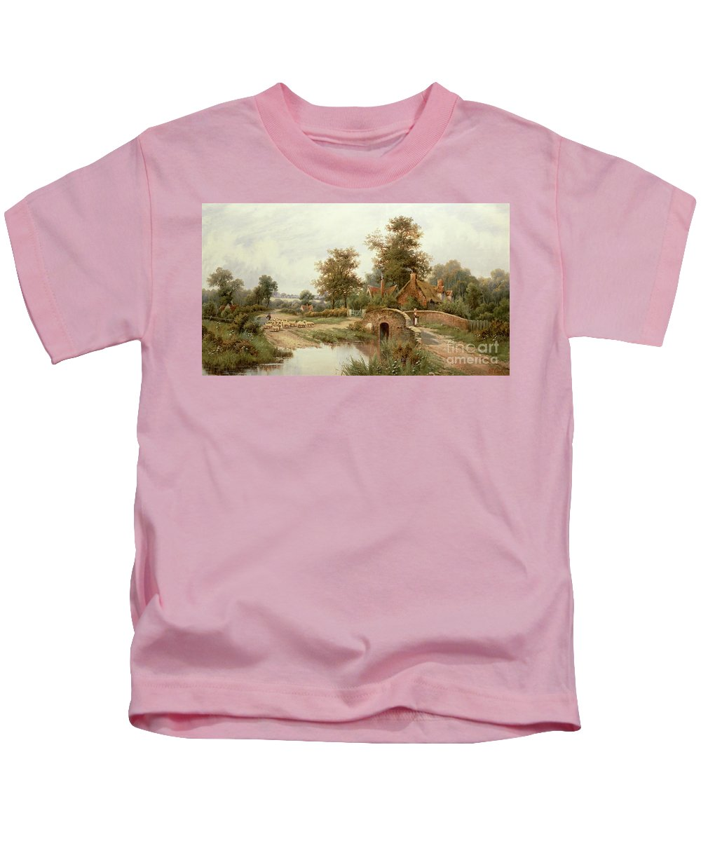 The Sheep Drover By Octavius Clark Kids T-Shirt featuring the painting The Sheep Drover by Thomas Octavius Clark