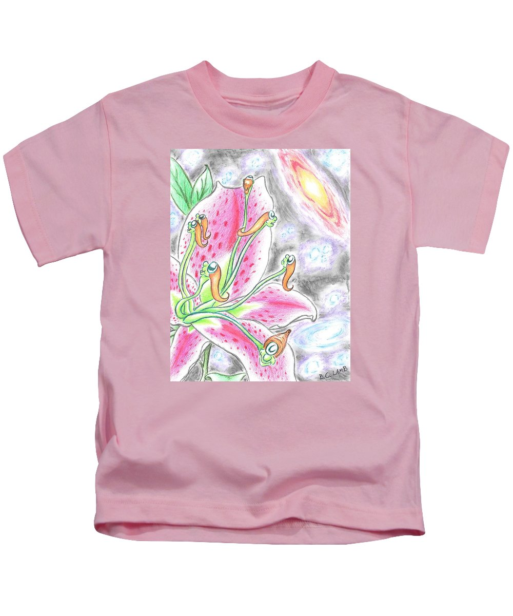 Stargazer Kids T-Shirt featuring the drawing The Stargazers by Bryant Lamb