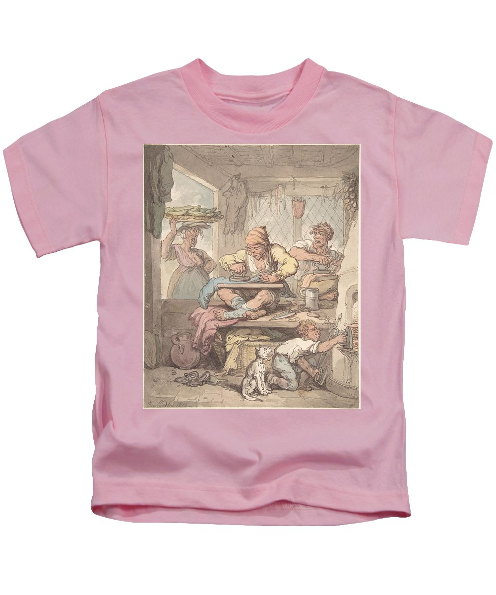 The Tailor 1814 By After Thomas Rowlandson Kids T-Shirt featuring the painting The Tailor by MotionAge Designs