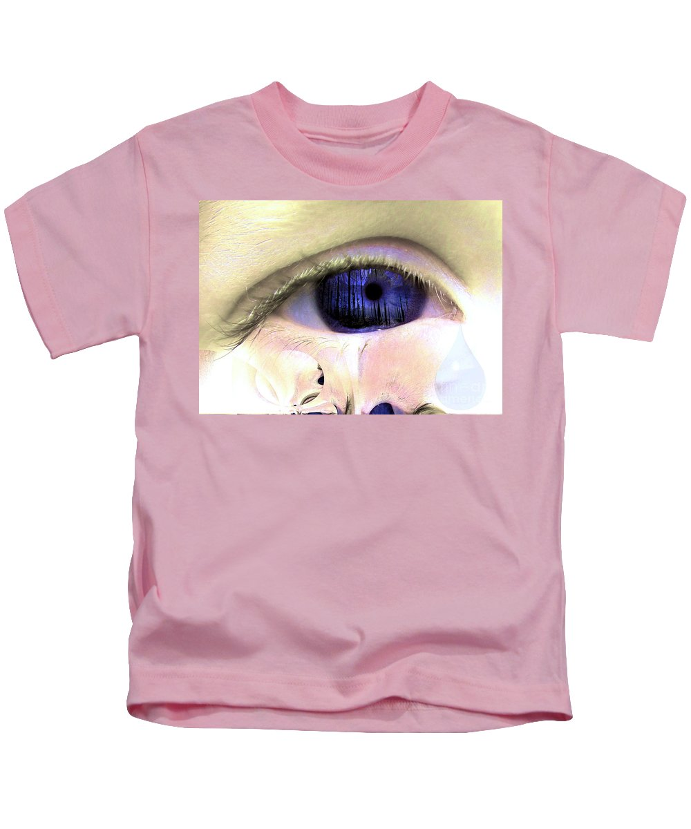 Eye Art Kids T-Shirt featuring the digital art The Tear by P Donovan