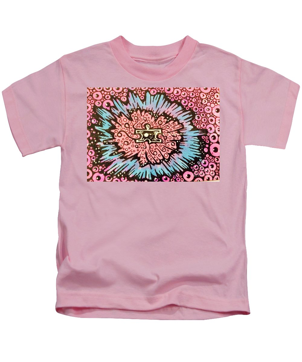 Jigsaw Kids T-Shirt featuring the mixed media The Trip by Lowkey Luciano