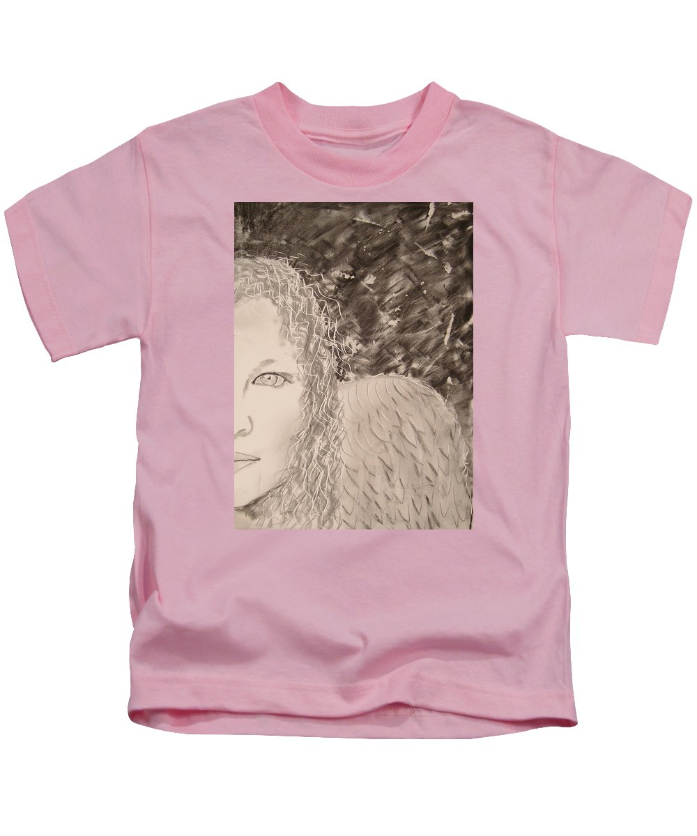 Angel Kids T-Shirt featuring the drawing The Viewing by J Bauer