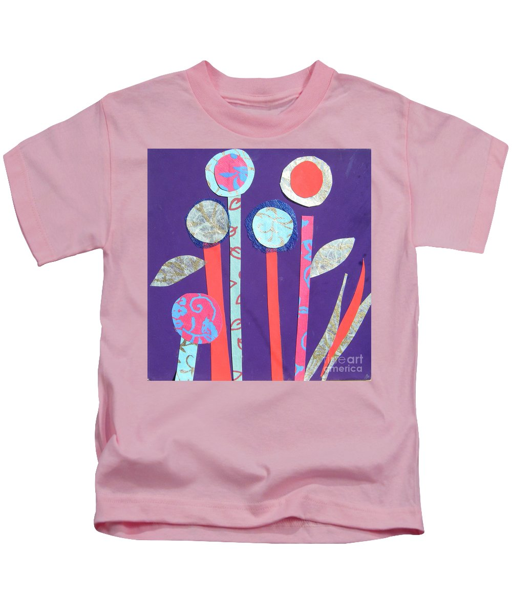 Flowers Kids T-Shirt featuring the mixed media The Violet Hour by Debra Bretton Robinson