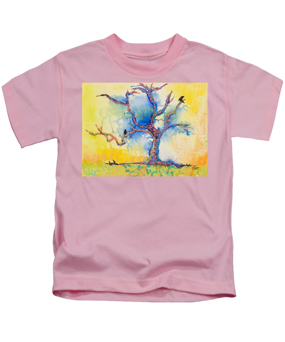 Abstract Painting Kids T-Shirt featuring the mixed media The Wind Riders by Pat Saunders-White