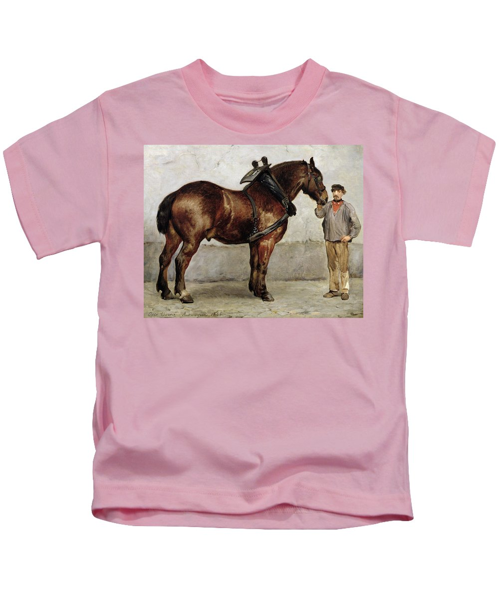 Horse Kids T-Shirt featuring the painting The Work Horse by Otto Bache