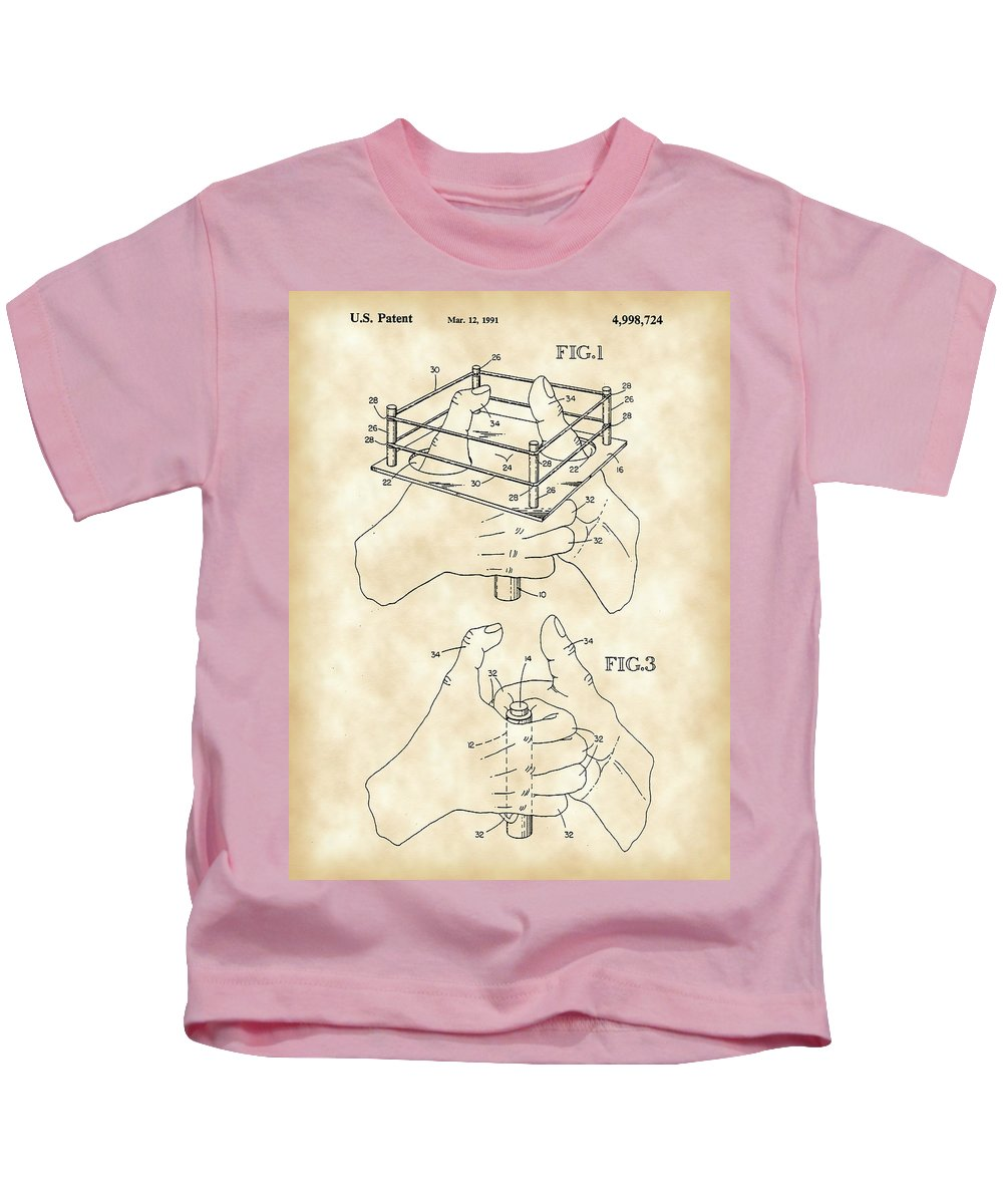 Game Kids T-Shirt featuring the digital art Thumb Wrestling Game Patent 1991 - Vintage by Stephen Younts
