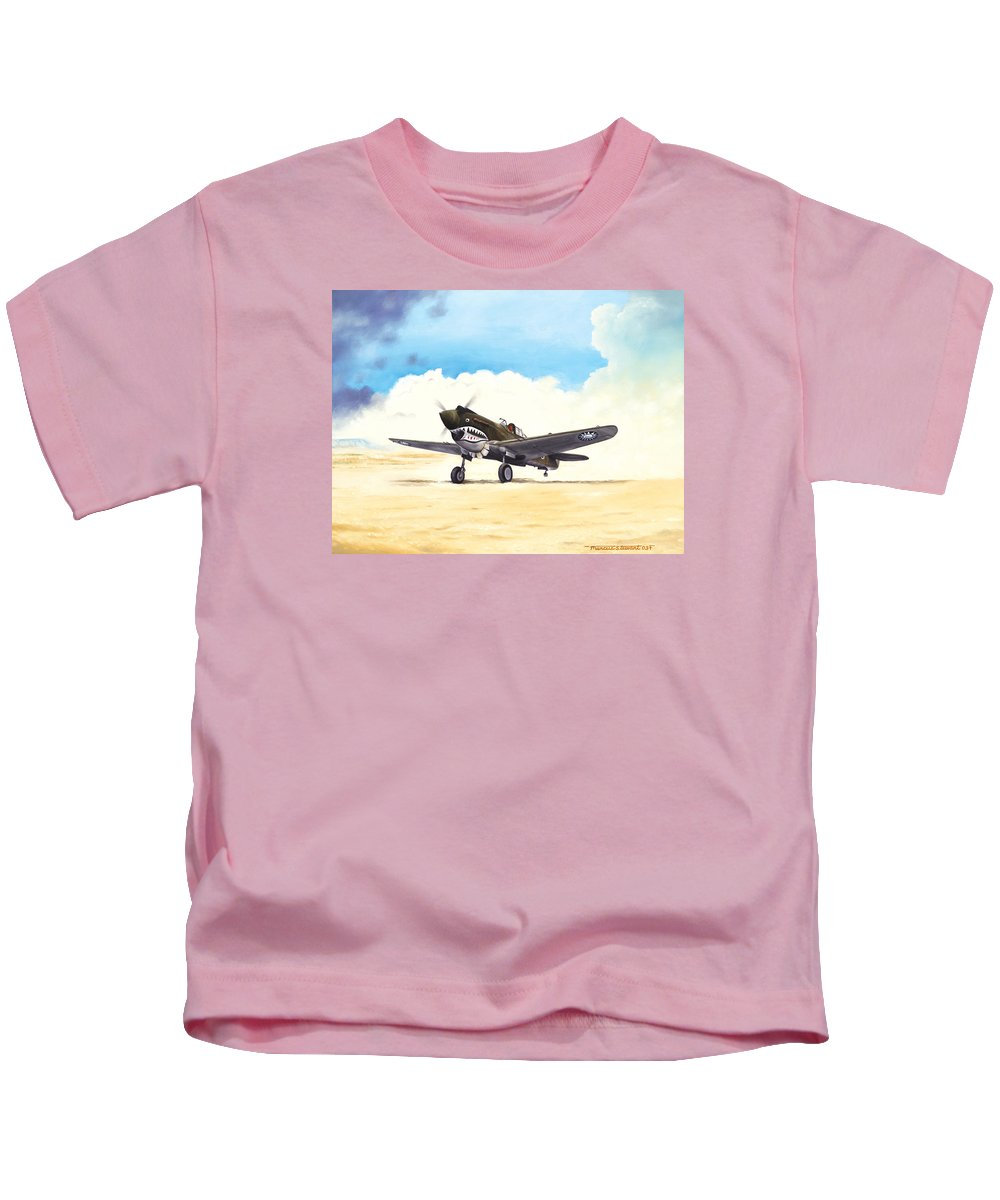 Aviation Kids T-Shirt featuring the painting Tiger Scramble by Marc Stewart