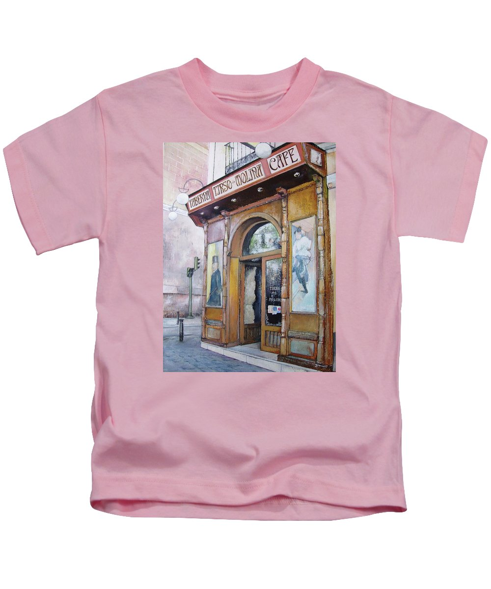 Tirso Kids T-Shirt featuring the painting Tirso De Molina Old Tavern by Tomas Castano