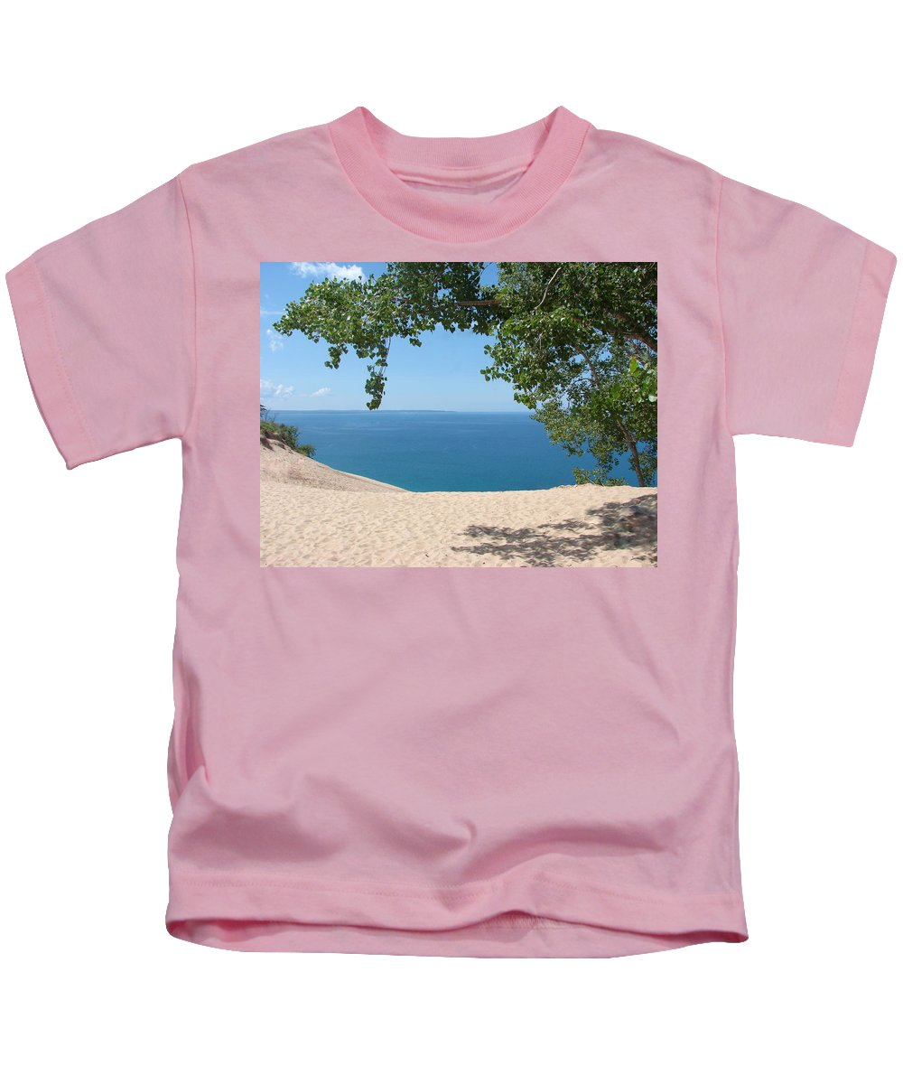 Sleeping Bear Dunes Kids T-Shirt featuring the photograph Top Of The Dune At Sleeping Bear by Michelle Calkins
