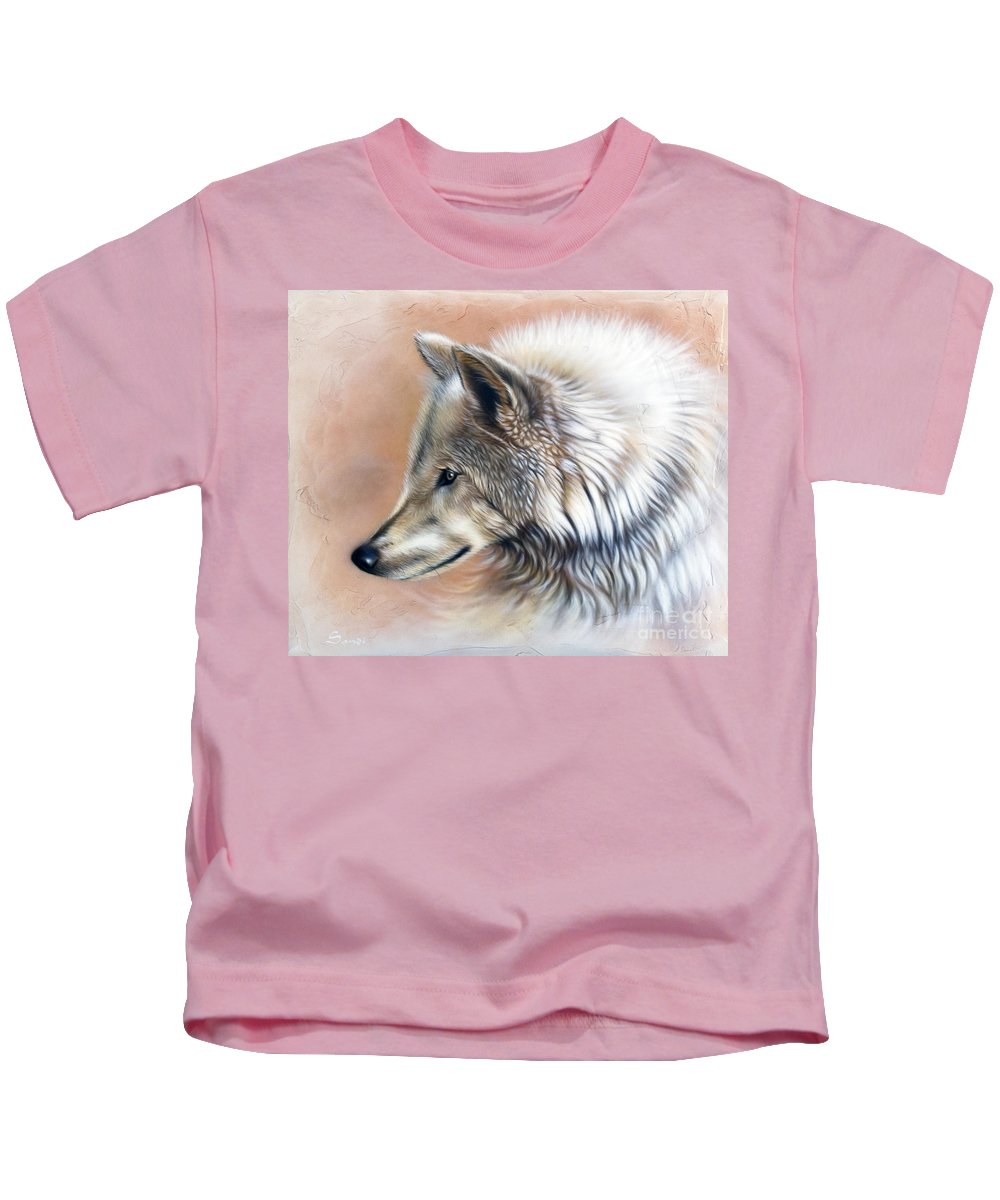 Wolves Kids T-Shirt featuring the painting Trace IIi by Sandi Baker