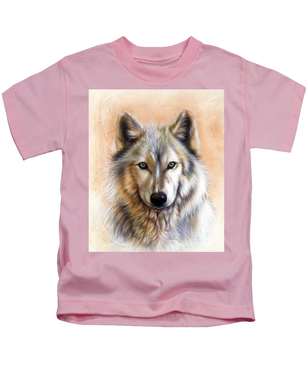 Wolves Kids T-Shirt featuring the painting Trace Two by Sandi Baker