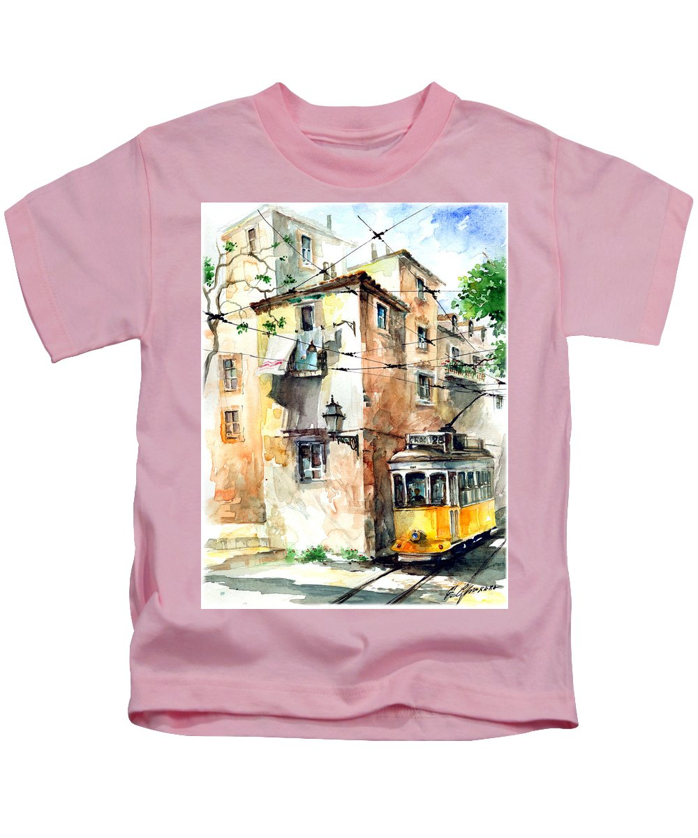 Watercolor Kids T-Shirt featuring the painting Tram In Lisboa by Georgi Charaka