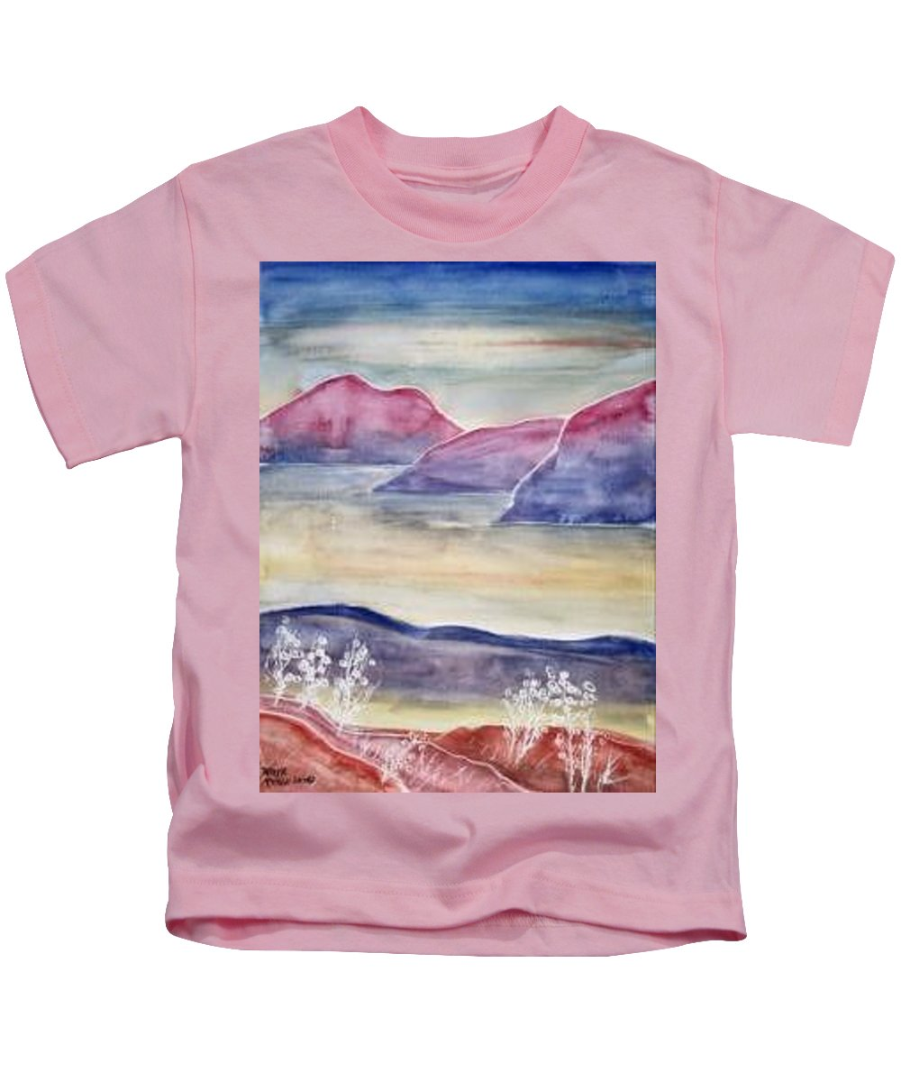 Watercolor Kids T-Shirt featuring the painting Tranquility 2 Mountain Modern Surreal Painting Print by Derek Mccrea