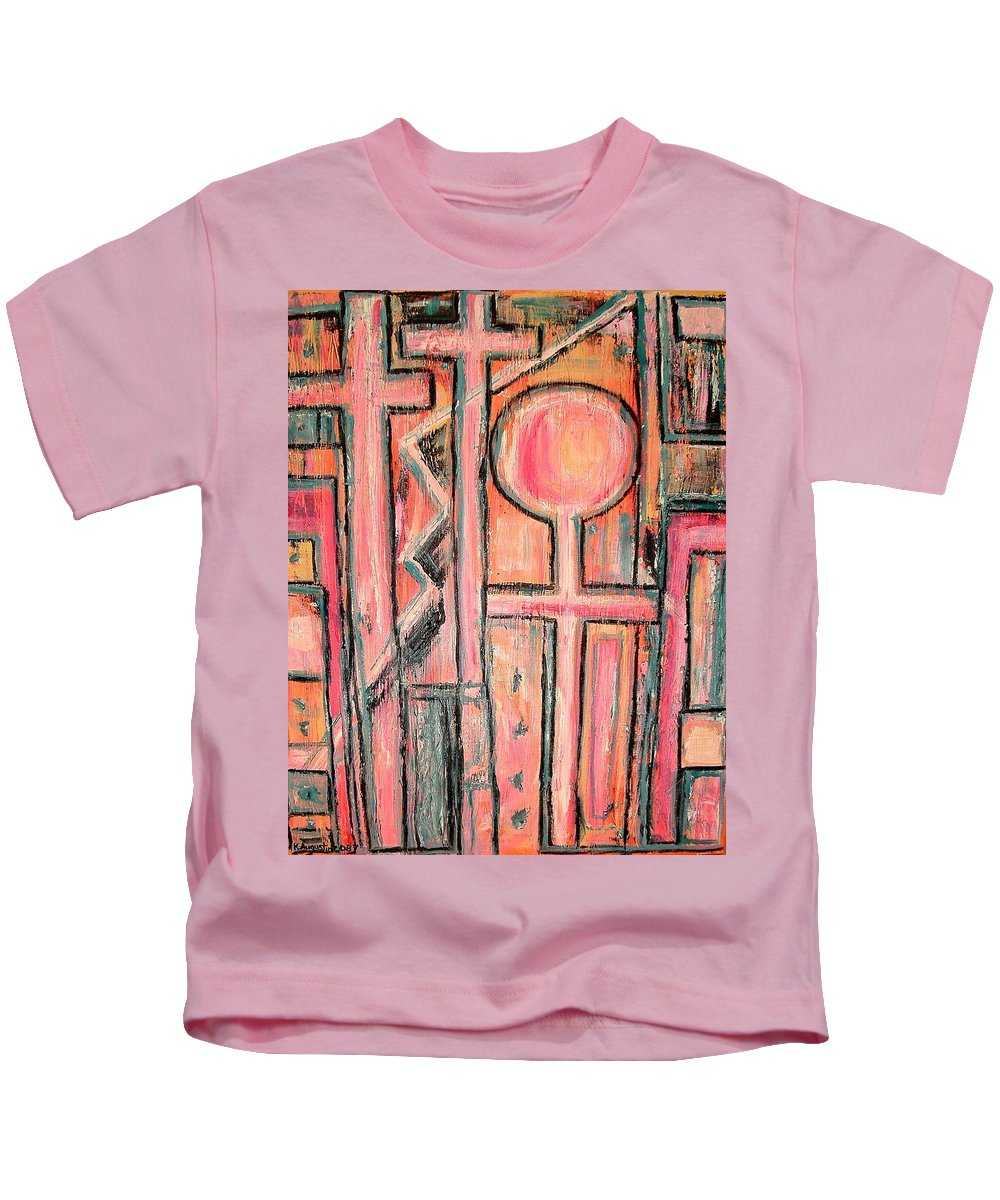 Cross Kids T-Shirt featuring the painting Trappings Of Love Abstract Art Painting by Kathy Augustine