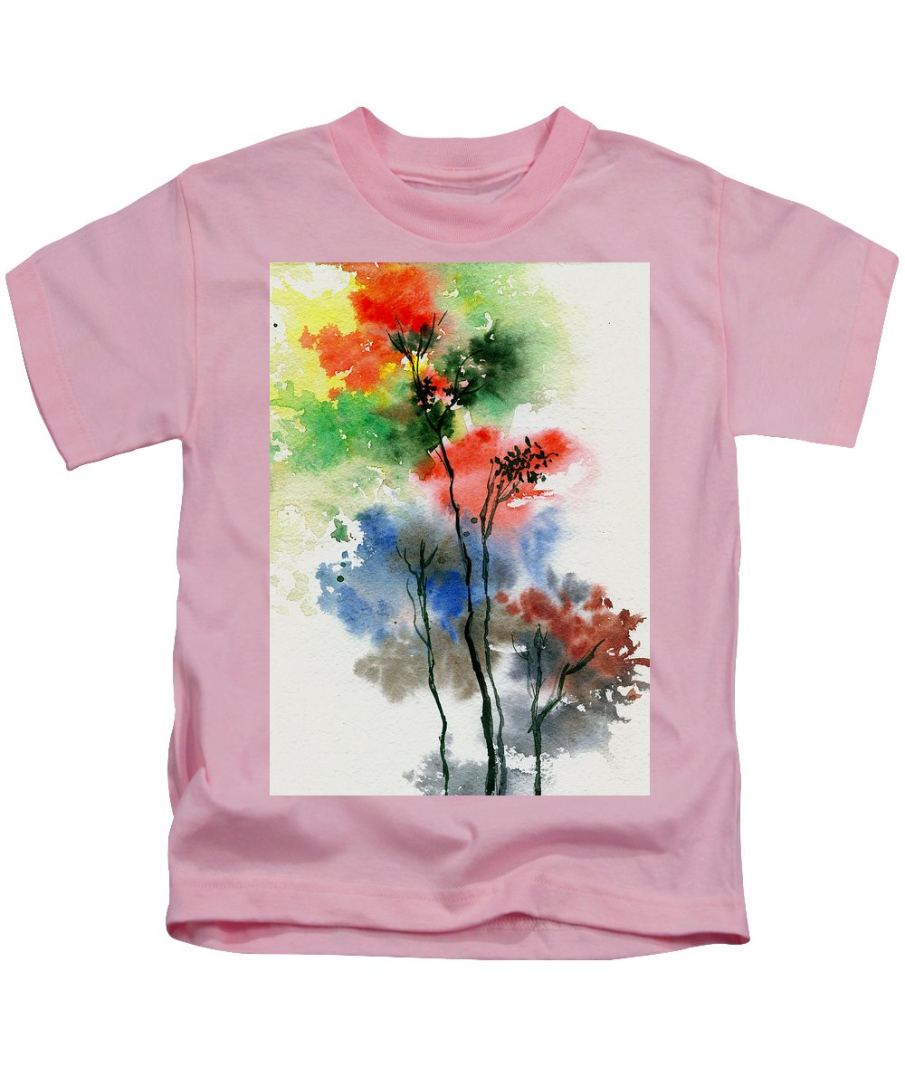 Trees Kids T-Shirt featuring the painting Trees In Colors by Anil Nene