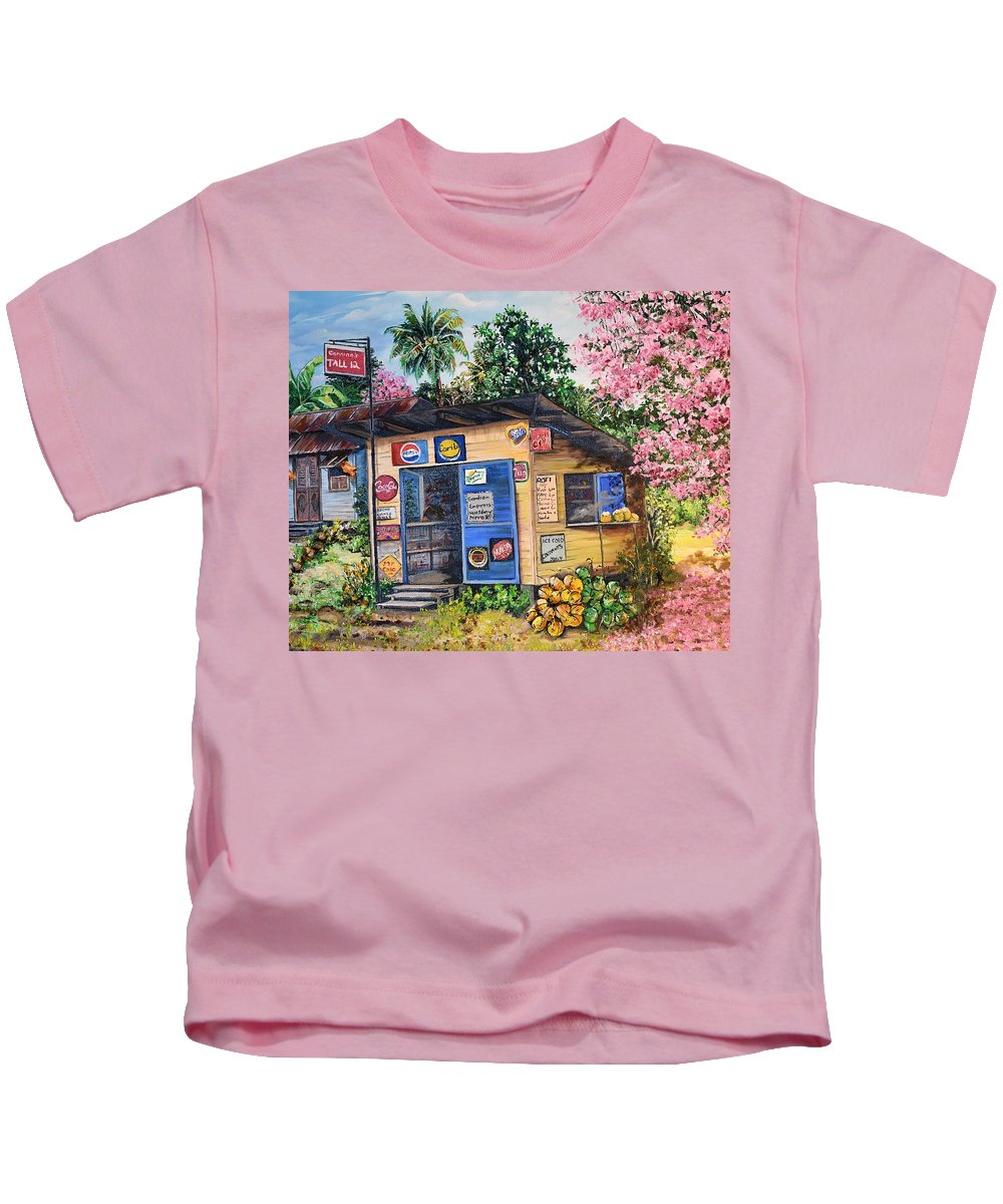 Trinidad And Tobago Shop Kids T-Shirt featuring the painting Trinidad Country Parlour by Karin Dawn Kelshall- Best
