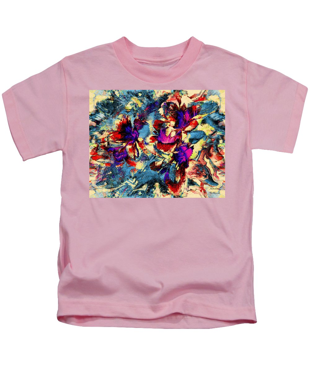Flowers Kids T-Shirt featuring the mixed media Tropical Delight by Natalie Holland