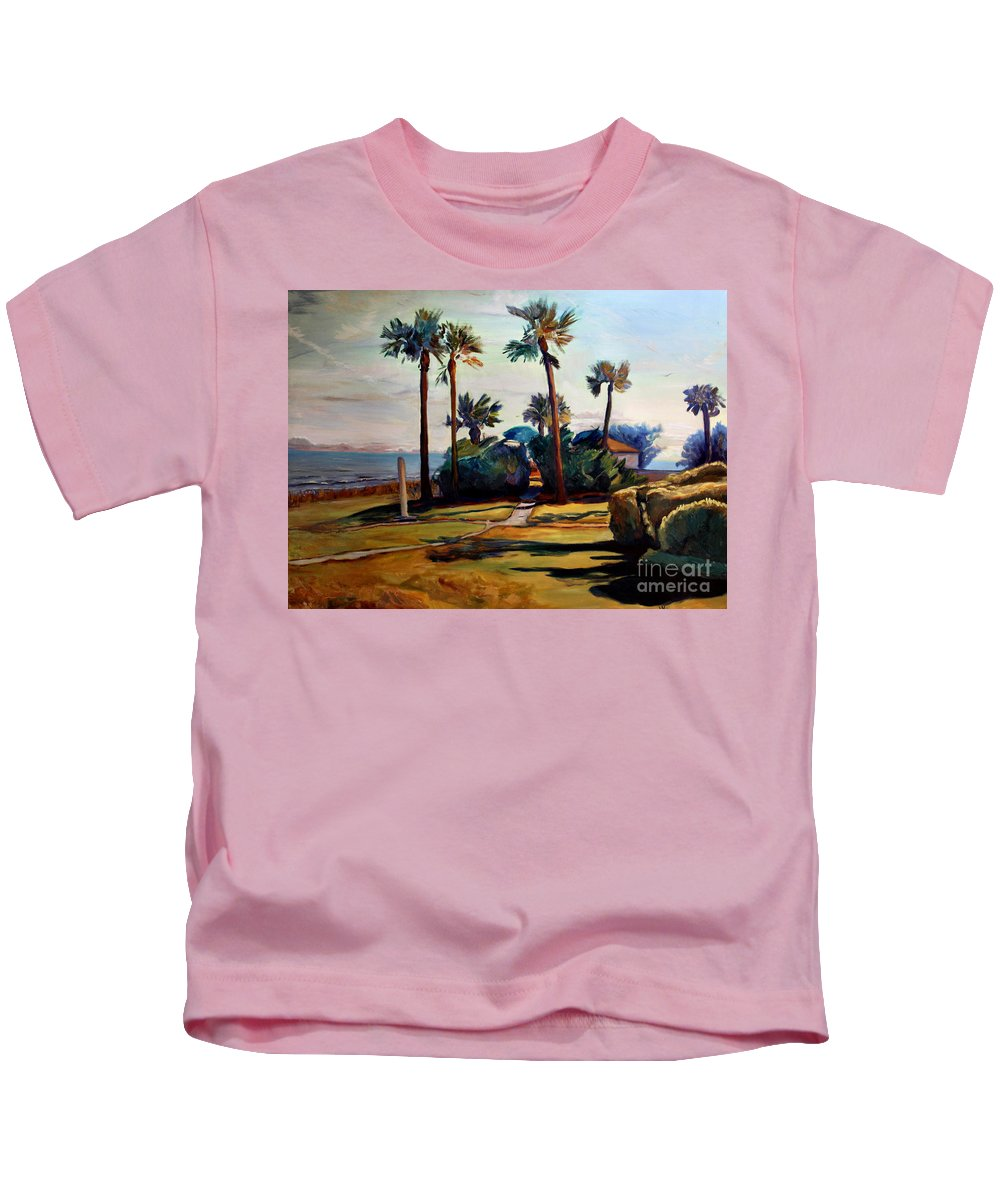 Painting Kids T-Shirt featuring the painting Tropical Sunshine by Maris Salmins